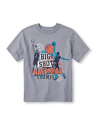The Children's Place Boys Grey Short Sleeve 'Sure Shot National Champs' Basketball Graphic Tee