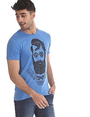 Flying Machine Blue Chest Print Crew Neck T-Shirt