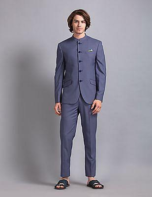 True Blue Blue Patterned Bandhgala Suit