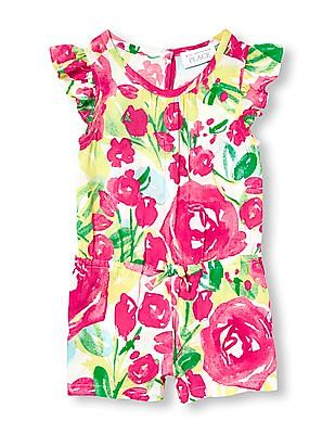 The Children's Place Toddler Girl Short Ruffle Sleeve Floral Print Romper