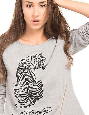 EdHardy Women Regular Fit Embroidered Sweatshirt
