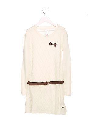 U.S. Polo Assn. Kids Girls Belted Sweater Dress
