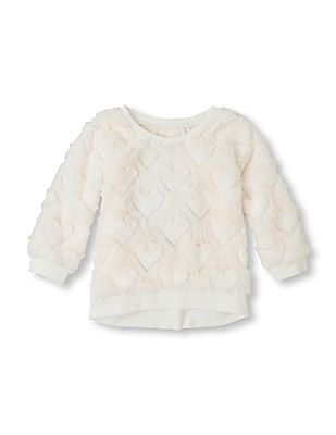 The Children's Place Baby Long Sleeve Heart Fur Top