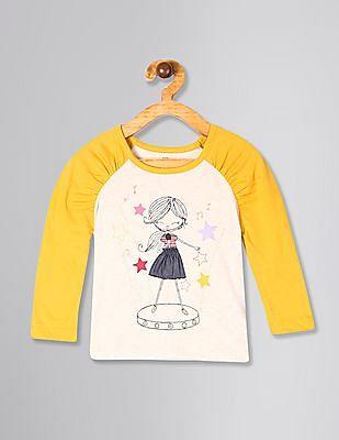 GAP Beige Toddler Girl Graphic Puff-Sleeve T-Shirt