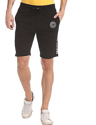 U.S. Polo Assn. Denim Co. Black Drawstring Waist Brand Printed Shorts
