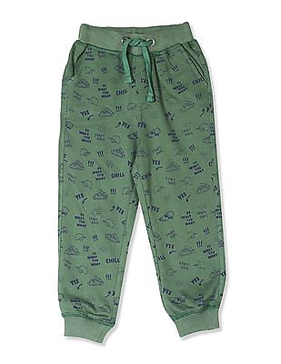 Cherokee Green Boys Printed Cotton Joggers