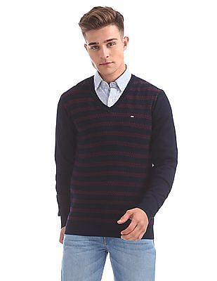 Arrow Sports V-Neck Striped Sweater