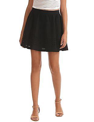Elle Laser Cut Hem Flared Skirt