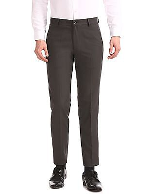 Excalibur Grey Slim Fit Flat Front Trousers