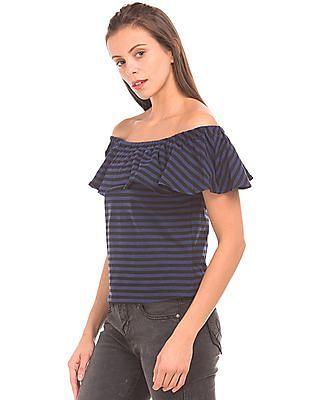 SUGR Off-Shoulder Striped Top