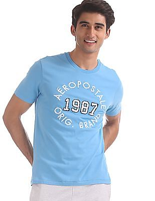 Aeropostale Blue Embroidered Front Cotton T-Shirt