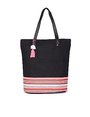 Bronz Black Patterned Weave Tote Bag