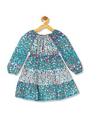 Cherokee Girls Floral Print Panelled Dress