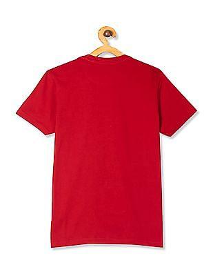 U.S. Polo Assn. Kids Red Boys Crew Neck Printed T-Shirt