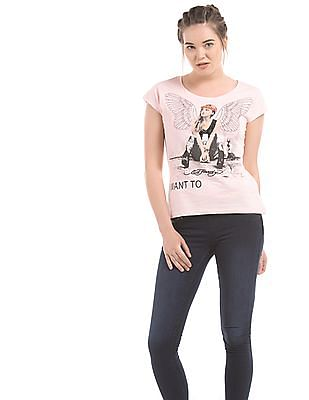 EdHardy Women Regular Fit Printed T-Shirt