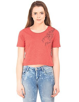 Flying Machine Women Heathered Round Neck T-Shirt