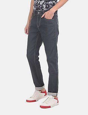 Flying Machine Men Grey Michael Slim Tapered Fit Dark Wash Jeans