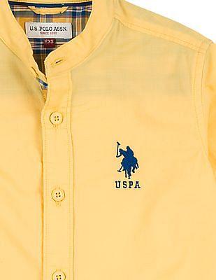 U.S. Polo Assn. Kids Boys Mandarin Collar Regular Fit Shirt