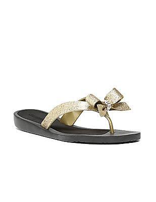 GUESS Glitter Strap Bow Trim Sandals