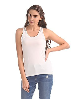 Unlimited White Lace Insert Tank Top