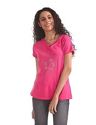 U.S. Polo Assn. Women Rolled Up Sleeve Stud Print T-Shirt
