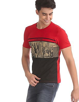Flying Machine Red Crew Neck Graphic Print T-Shirt