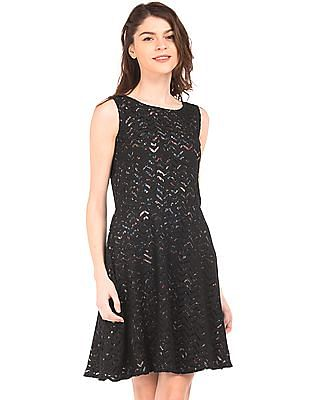 Cherokee Lace Overlay Fit And Flare Dress