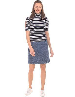 SUGR Acid Wash A-Line Skirt