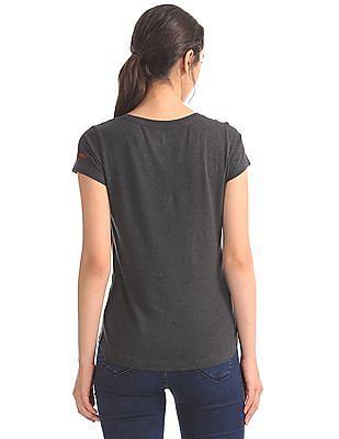 EdHardy Women Embellished Front Round Neck T-Shirt