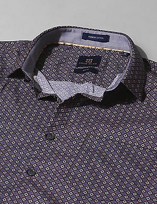 True Blue Slim Fit Patterned Shirt