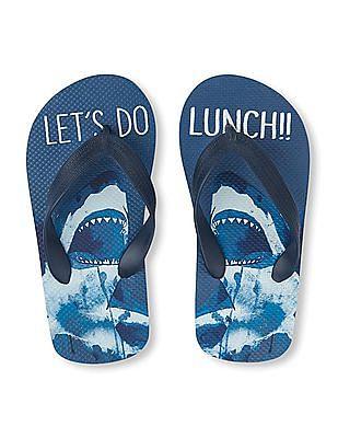 The Children's Place Boys Shark Print Flip Flops