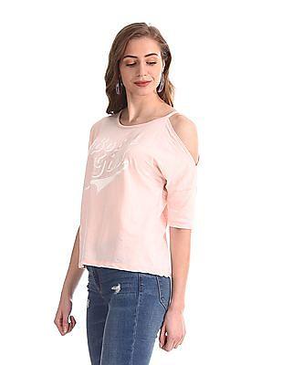 Flying Machine Women Pink Printed Drop Shoulder Top