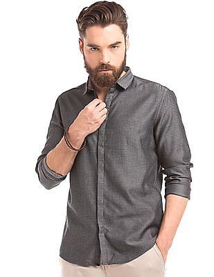 True Blue Concealed Placket Patterned Shirt
