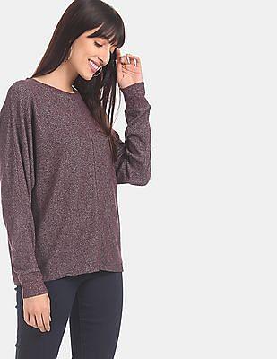 GAP Women Purple Softspun Dolman Sleeve Top