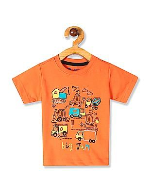 Donuts Orange Boys Printed Cotton Jersey T-Shirt