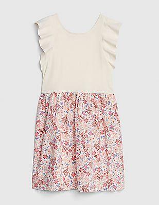 GAP Girls Flutter Floral Mix-Fabric Dress