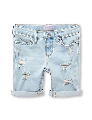 The Children's Place Girls Roll-Cuff Destructed Denim Skimmer Shorts