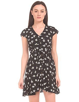 Aeropostale Floral Printed V-Neck Fit And Flare Dress