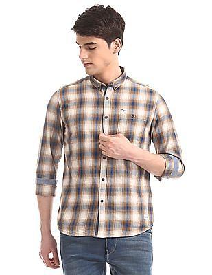 Flying Machine Beige Button Down Collar Check Shirt
