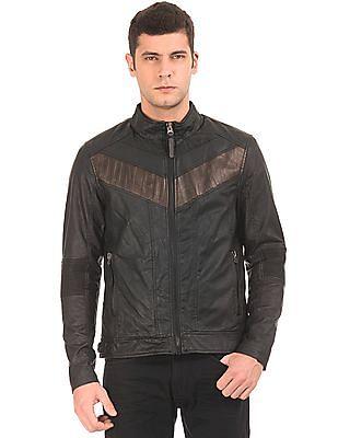 Ed Hardy Brand Embossed Panelled Biker Jacket