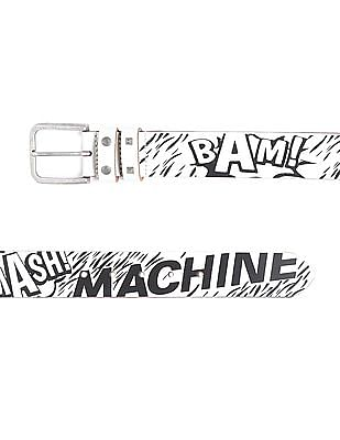 Flying Machine Contrast Printed Leather Belt