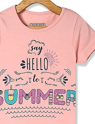 Cherokee Orange Girls Round Neck Printed T-Shirt