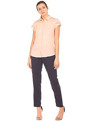 Cherokee Concealed Placket Short Sleeve Shirt