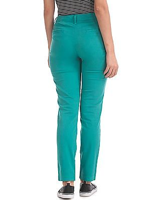Flying Machine Women Tapered Fit Pleated Trousers