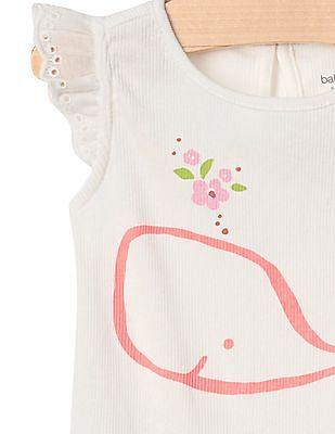 GAP Baby Floral Whale Flutter Bodysuit