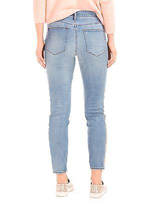 GAP Women Blue Stretch 1969 Gold Trim True Skinny Ankle Jeans