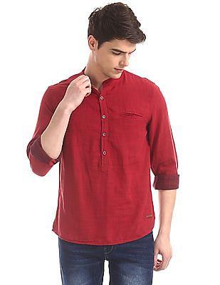 Cherokee Red Mandarin Collar Popover Shirt