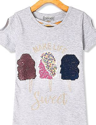 Cherokee Girls Cold Shoulder Sequined Top