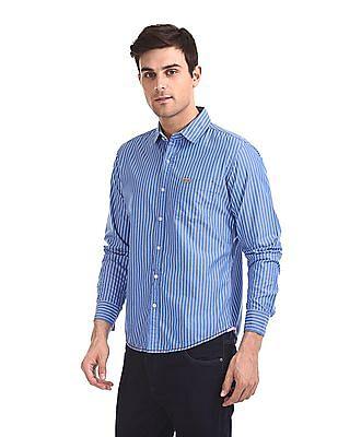 Flying Machine Spread Collar Vertical Stripe Shirt