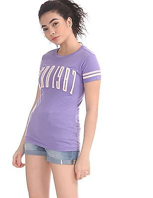 Aeropostale Purple Crew Neck Band Applique T-Shirt